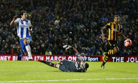 Leonardo Ulloa dinks the ball over Alan McGregor to pur Brighton ahead.