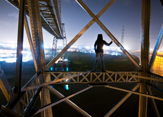 On the Transporter Bridge in Newport, Wales.