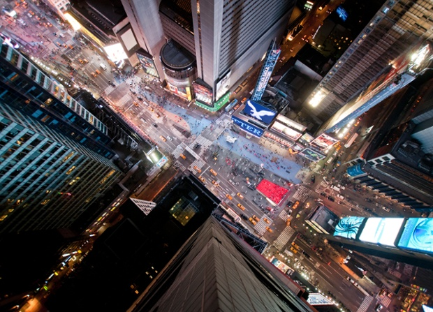 A vertiginous view of Times Square, New York.