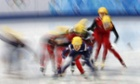Skaters compete in the women's short track 3,000m relay.