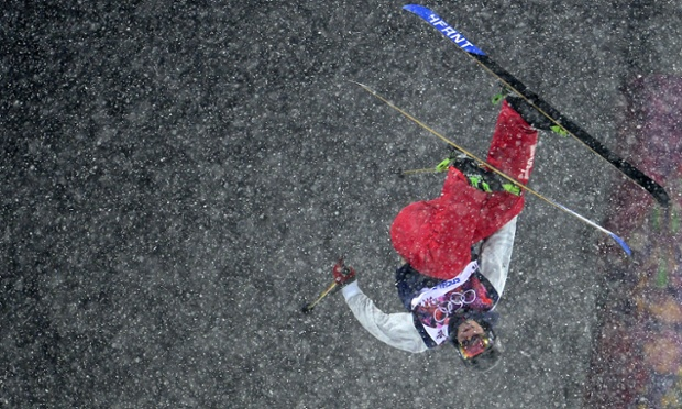 America's David Wise, the eventual winner of the men's freestyle skiing halfpipe, during his gold-medal run.