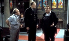 Ken Jones, Brian Wilde and Ronnie Barker in Porridge, with a slightly out-of-focus Philip Jackson be