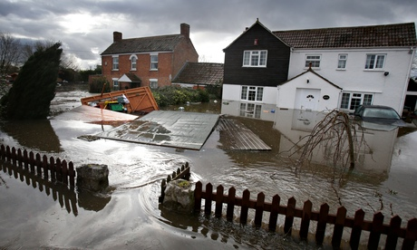 Flooded houses on Somerset Levels