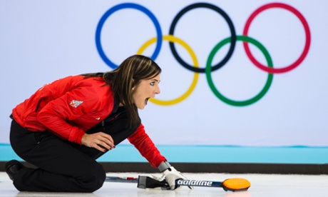Great Britain's Eve Murihead with her key final delivery during the semi-final of the women's curling competition.