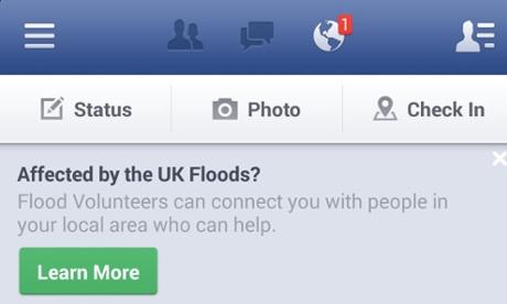 Facebook's flood banner.