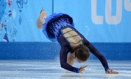Russia's Julia Lipnitskaia falls as she performs in the women's figure skating short program at the Sochi Winter Olympics.