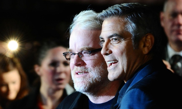 Hoffman and George Clooney at the premier of the film The Ides of March during the BFI London film festival in 2011