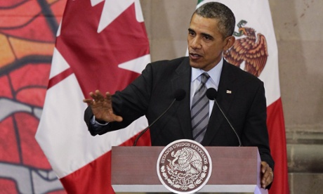 Barack Obama, speaking in Mexico, called on Russia to respect basic freedoms in its dealings with Ukraine and Syria.