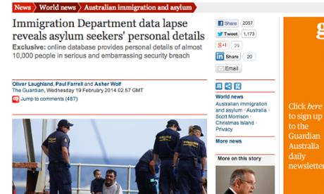 Guardian Australia's report revealing the data breach