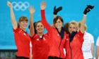 Great Britain's Claire Hamilton, Vicki Adams, Eve Muirhead and Anna Sloan celebrate winning the Women's Bronze Medal match against Switzerland.