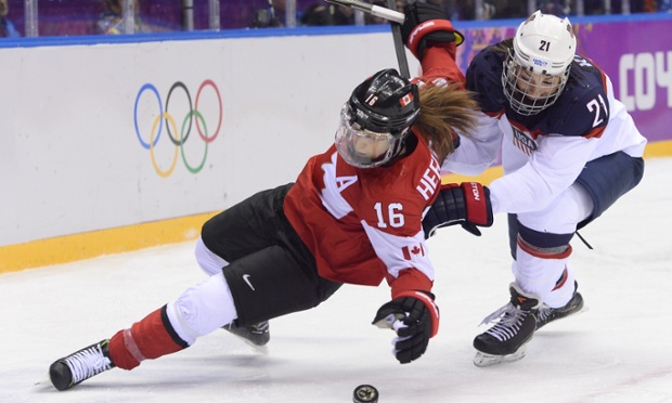 It's been physical between the USA and Canada in the final of the women's hockey tournament in Sochi.