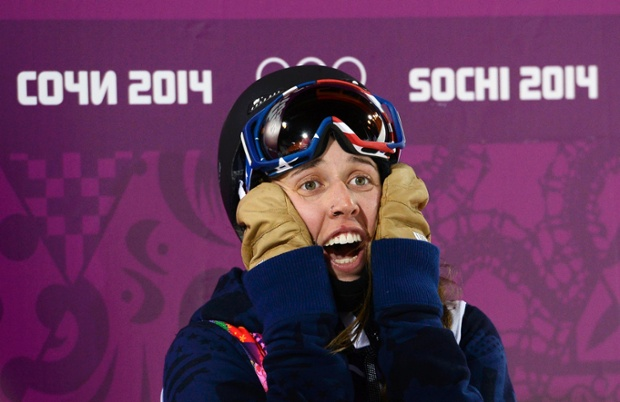 Winner Maddie Bowman of the US is clearly thrilled to have won gold in the women's freestyle skiing halfpipe.