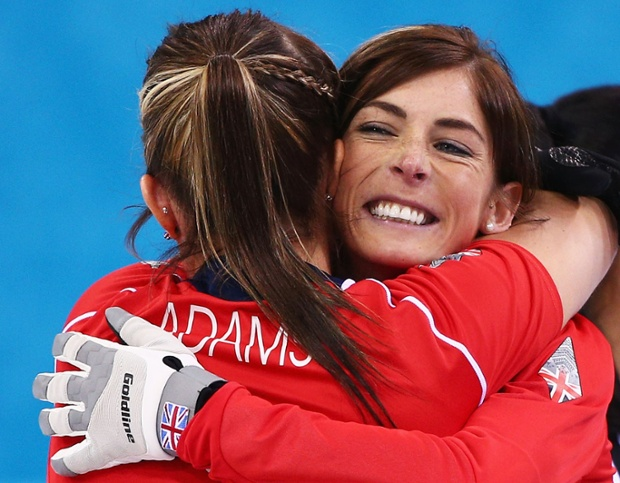 Eve Muirhead and Vicki Adams of Great Britain celebrate as they win the bronze medal in the women's curling.