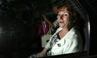 Hazel Blears in the back of a car