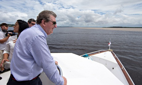 England's manager Roy Hodgson on a boat trip to the Meeting of the Waters during his trip to Manaus