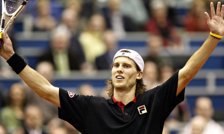 Italy's Andreas Seppi celebrates his victory over Rafael Nadal at a tournament in Rotterdam in 2008