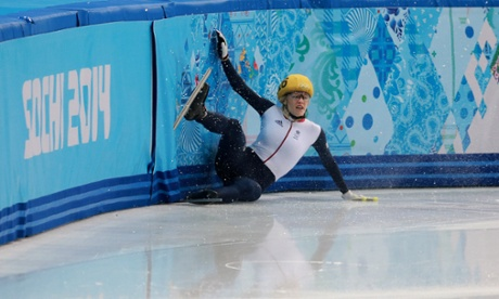 Great Britain's Elise Christie crashes out in her 1,000m Short Track Semi Final.