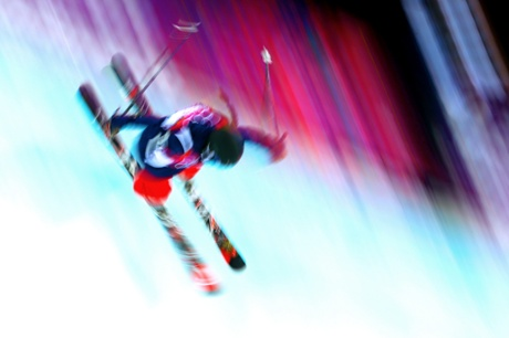 Maddie Bowman of the United States competes in the freestyle skiing ladies' halfpipe.