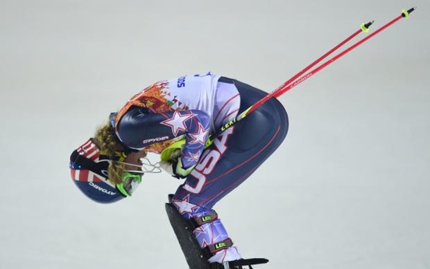 US skier Mikaela Shiffrin celebrates after taking gold in the Women's Alpine Skiing Slalom Run 2.