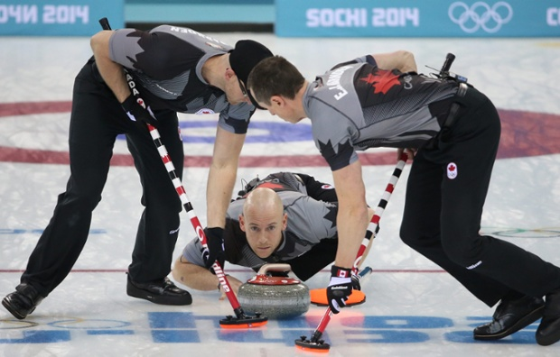 Ryan Fry of Canada has his eye on winning the gold medal in the final of the men's Curling competition against Great Britain.