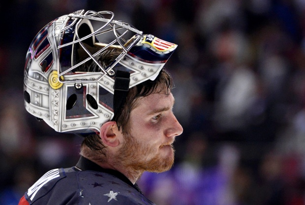 US goalkeeper Jonathan Quick is disappointed after losing to Canada in the Men's Hockey Semifinal.
