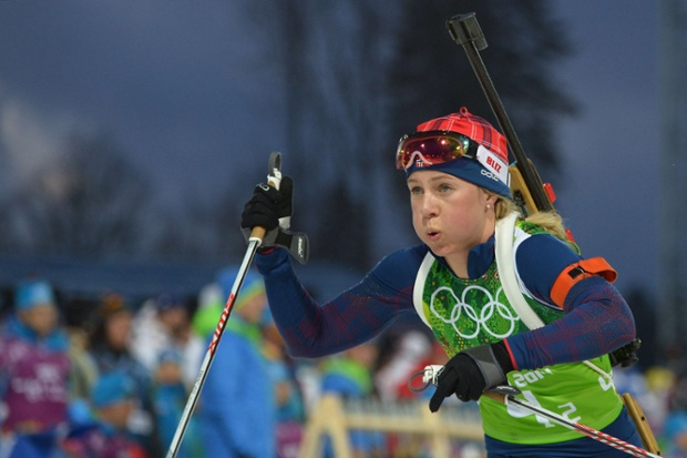 Puffing her way to a Bronze medalNorway's Tiril Eckhoff competes at the shooting range in the Women's Biathlon 4x6 km Relay.
