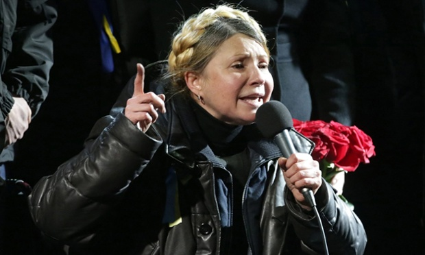 Ukrainian opposition leader Yulia Tymoshenko speaks during a rally in Kiev.
