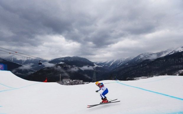 Russia's Anastasia Chirtcova during a women's ski cross seeding run.