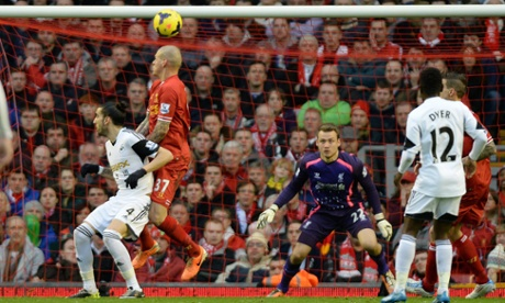 Martin Skrtel deflects Wilfried Bony's header into his own goal to draw Swansea level against Liverpool.