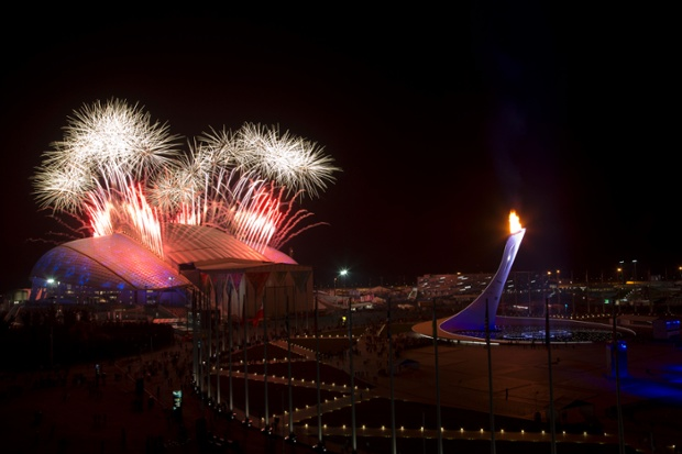 Fireworks explode seen over Olympic Park during the closing ceremony of the 2014 Winter Olympics.