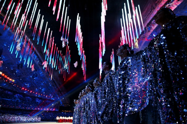 Dancers perform during the 2014 Sochi Winter Olympics Closing Ceremony at Fisht Olympic Stadium in Sochi, Russia.