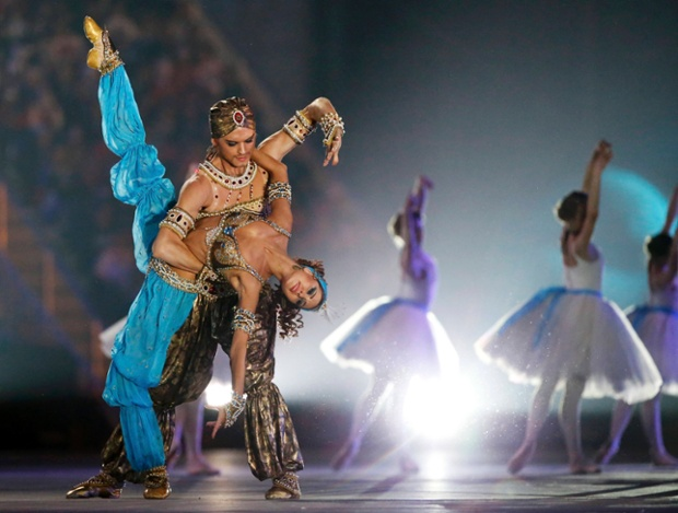 Bolshoi ballet dancers perform in the closing ceremony for the Sochi 2014 Winter Olympic Games.