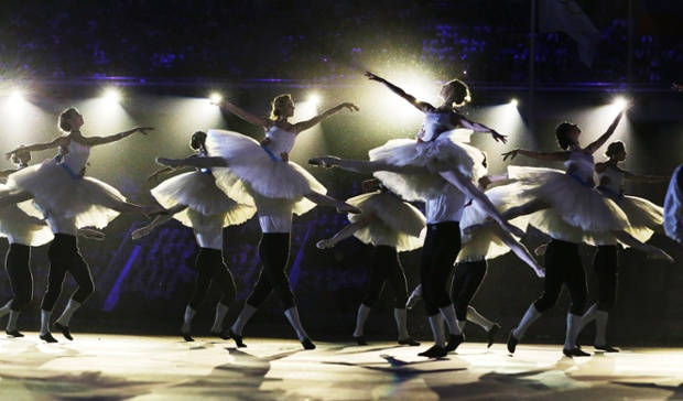 Performers dance during the closing ceremony of the 2014 Winter Olympics.