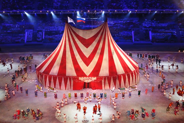 A circus tent is being raised during the Closing Ceremony of the Sochi 2014 Olympic Games at the Fisht Olympic Stadium, Sochi, Russia.