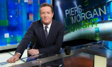 Piers Morgan on the set of his CNN show when it launched three years ago.