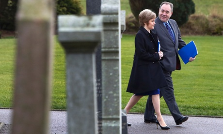 Alex Salmond and Nicola Sturgeon at Portlethen, where the Scottish cabinet was meeting in the church hall.