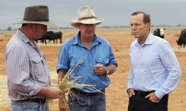 Prime Minister Tony Abbott meets with outback grazier Phillip Ridge on his property named