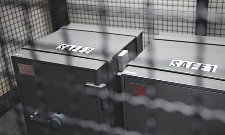 Two safes in a cage