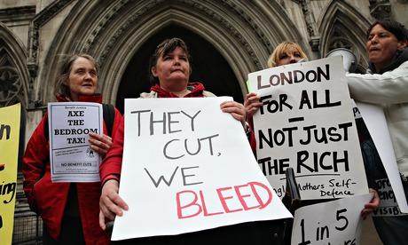 Carers for disabled people protest against the bedroom tax outside the high court