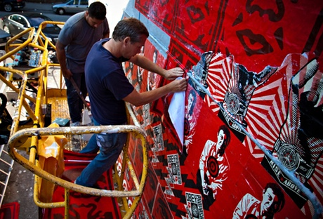 The alleged vandal Shepard Fairey,at work in Copenhagen