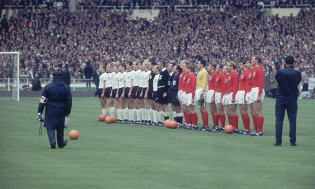 England and Germany line up together before the 1966 football World Cup Final
