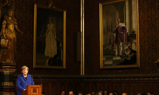 Angela Merkel address members of both Houses of Parliament in the Royal Gallery of the Palace of Westminster in London.