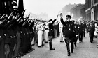 British fascist leader Oswald Mosley inspects members of the British Union of Fascists