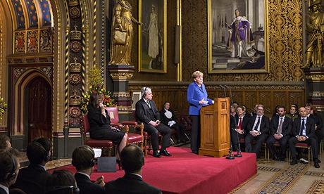 German Chancellor Angela Merkel addresses both Houses of Parliament in the Royal Gallery of the Palace of Westminster in London Photograph: Oli Scarff/AP