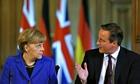 German chancellor Angela Merkel and British prime minister David Cameron at London press conference