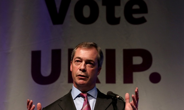 Nigel Farage delivering his speech at the Ukip conference in Torquay.