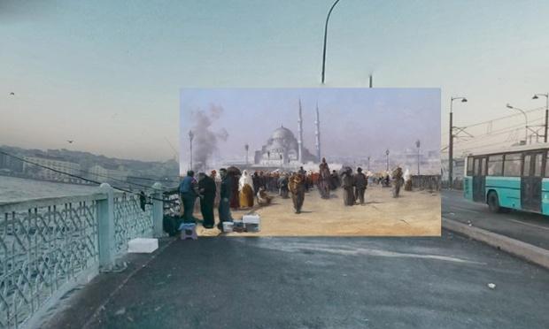 Ajetreo y el bullicio en el puente de Galata en Constantinopla (1890), Fausto Zonaro.