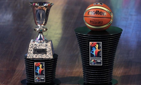 The basketball World Cup trophy and the official ball during the draw for the tournament in Barcelona on Monday.