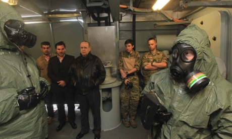 Danish chemical warfare officers on a frigate that is to escort chemical weapons shipments from Syria.
