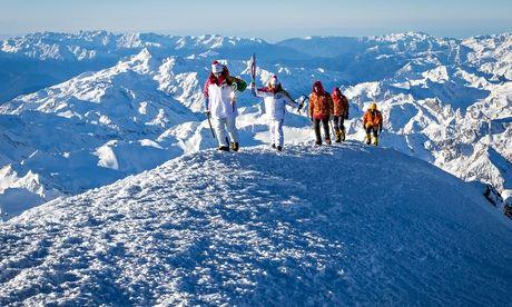 Olympic flame on Mount Elbrus
